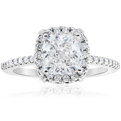 1 3/4ct Cushion Halo Diamond Engagement Ring 14k White Gold ((G-H), (SI1-SI2))