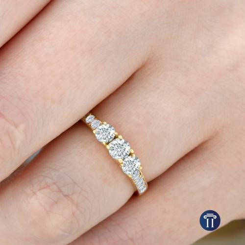 1 Ct 3-Stone Diamond Engagement Ring 10K Yellow Gold (H/I, I2-I3)