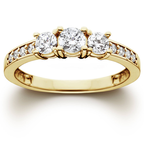 1 Ct 3-Stone Diamond Engagement Ring 10K Yellow Gold (H/I, I2-I3)