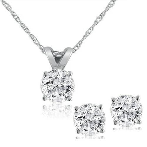 Diamond Solitaire Necklace & Studs Earrings Set 3/4 Carat 14K White Gold (J-K, I2-I3)