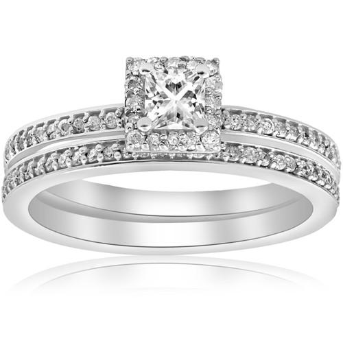 5/8Ct Princess Cut Diamond Engagement Matching Wedding Halo Ring Set White Gold (G/H, SI2-I1)