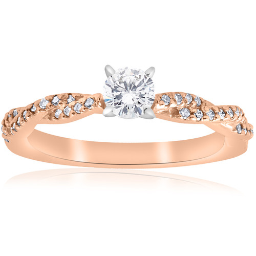 1/2cttw Diamond Engagement Ring 14k Rose Gold Twist Intertwined Round Cut (I/J, I2-I3)