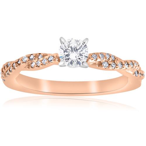 1/2cttw Diamond Engagement Ring 14k Rose Gold Twist Intertwined Round Cut (I/J, I2-I3)