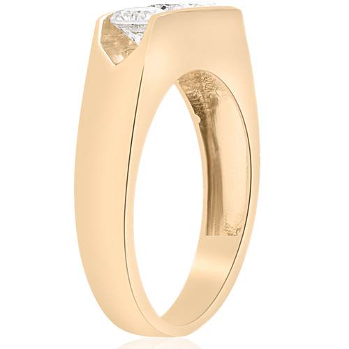 1 1/2ct Diamond Three Stone Mens Wedding 3 Round Jewelry Ring 10k Yellow Gold (H, I1)