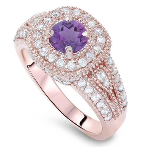 1 1/3ctW Diamond & Amethyst Vintage Filigree Pave Halo Ring 14K Pink Rose Gold (G/H, I1)