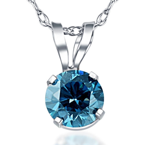 1/3ct Blue Diamond Solitaire 14K White Gold Pendant (Blue, SI3)