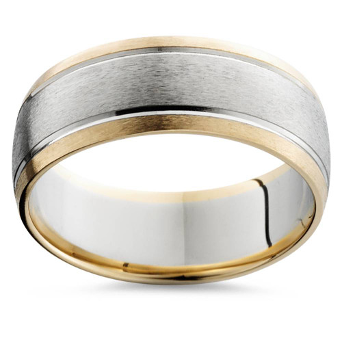 Mens Gold 8mm Two Tone Comfort Fit Wedding Band Ring 14k White and Yellow Gold