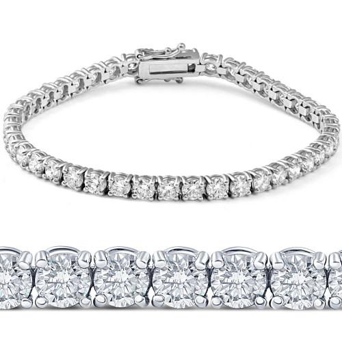 "11ct Lab-Created Diamond Tennis Bracelet 18K White Gold 7"" (F, VS/SI)"