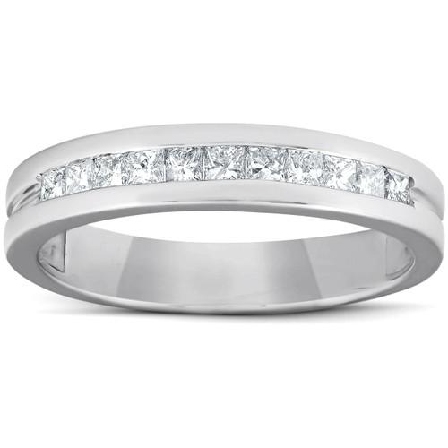 1/2ct Princess Cut Diamond Mens Wedding Ring 14K White Gold (G/H, I1-I2)