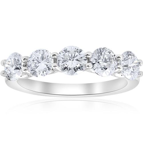 2cttw Diamond 5 Stone U Prong Wedding Round Cut Ring 14k White Gold (H/I, I1-I2)
