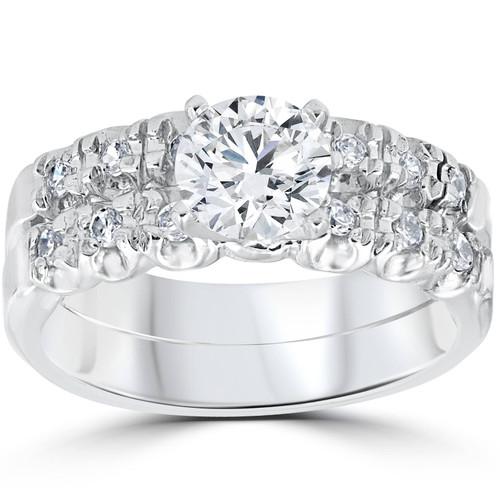 1 Carat Diamond Engagement Ring Matching Wedding Band Prong Set 14K White Gold (G/H, I2)