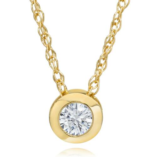 3/8ct Bezel Solitaire Diamond 14K Gold New Womens Pendant Necklace (G/H, SI2)