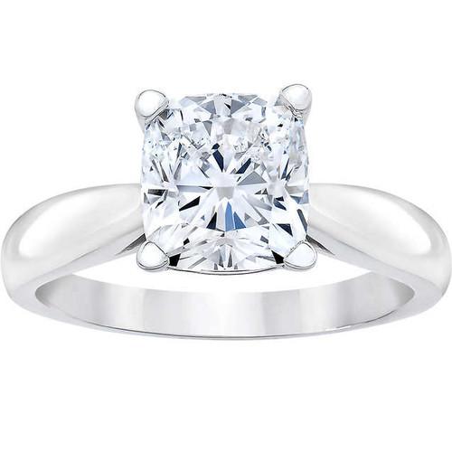 1 1/2ct Cushion Diamond Solitaire Engagement Ring 14k White Gold Enhanced (E, VS1-VS2)