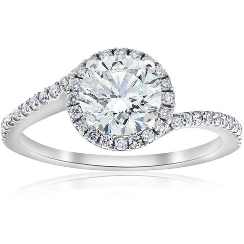 1 1/3ct Diamond Halo Twist Engagement Ring 1ct Center 14k White Gold (H/I, SI2-I1)