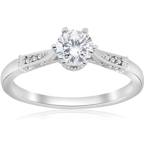 5/8ct Diamond Engagement Ring Vintage 14k White Gold Round Cut ((G-H), SI(1)-SI(2))