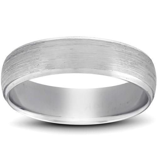 Beveled & Brushed Wedding Band 14K White Gold