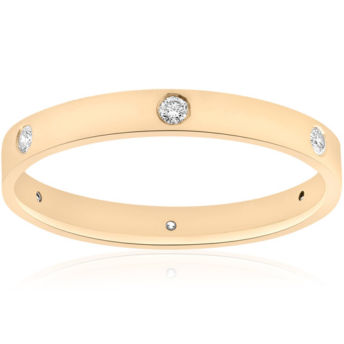 14k Yellow Gold Diamond Eternity Wedding Anniversary Ring Womens Polished Band (G/H, SI)