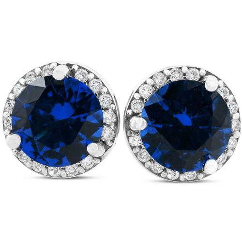 1 Ct Genuine Blue Sapphire & Diamond Halo Studs 10K White Gold Earrings (G, I1)