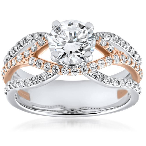 1 3/4ct Diamond Multi Row 1ct Center Engagement Ring 14k Rose Gold Enhanced ((G-H), SI(1)-SI(2))