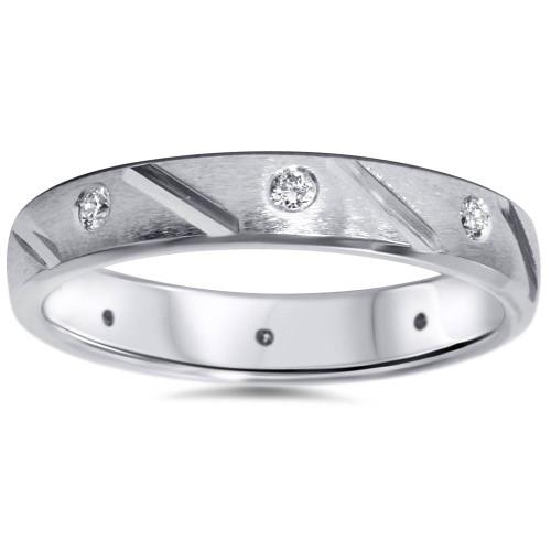 1/4ct Mens Diamond Wedding Ring 14K White Gold Comfort Fit (G/H, SI2-I1)