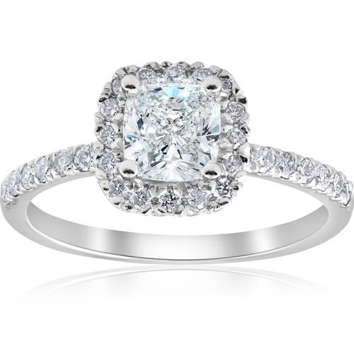 2 ct Cushion Diamond Halo Engagement Ring 14k White Gold ((G-H), SI(1)-SI(2))