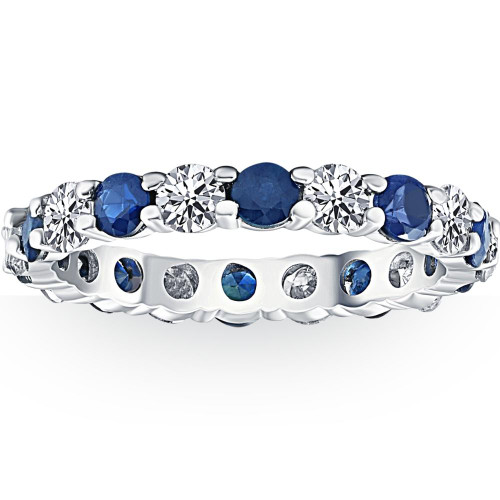 3ct Blue Sapphire & Diamond Eternity Ring 14K White Gold (G/H, I1)