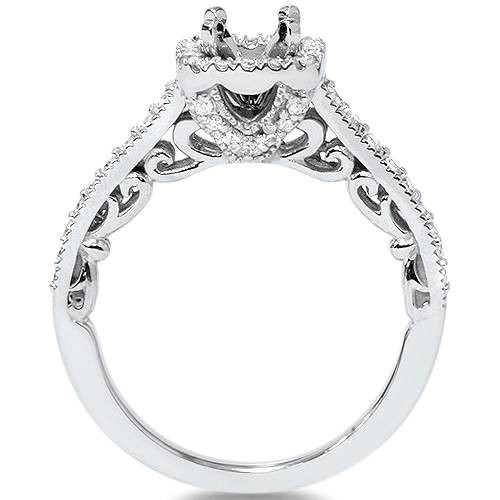 1/3ct Cushion Halo Diamond Vintage Engagement Ring Setting 14K White Gold (G/H, SI2)