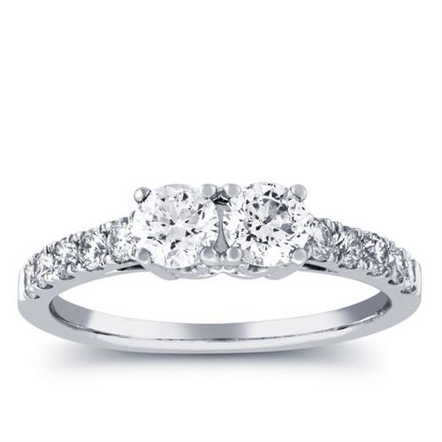 1ct Two Stone Diamond Round Cut Engagement Anniversary Ring 14k White Gold (H/I, I1-I2)