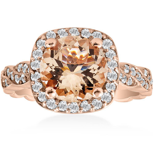 1 7/8ct Morganite & Diamond Vintage Halo Infinity Ring 14K Rose Gold (H/I, I1)