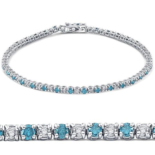 "3ct Blue & White Diamond Tennis Bracelet 14K White Gold 7"" (G/H, I2)"