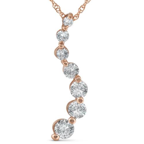 1 ct TDW Diamond Journey Pendant 14k Rose Gold (G/H, I2)