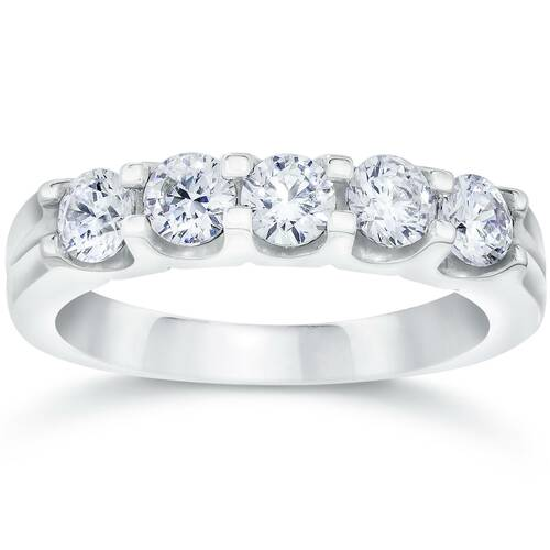 1ct Lab Created Diamond 5-Stone Wedding Womens White Gold 14K Ring (F, VS/SI)