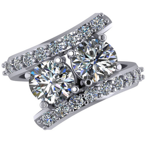 3.90ct Diamond Two Stone Forever Us Engagement Ring White Yellow or Rose Gold ((G-H), SI(1)-SI(2))