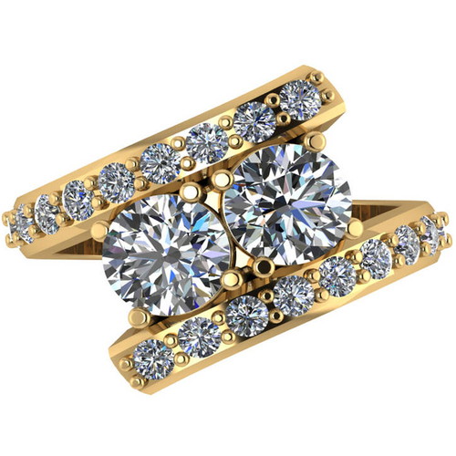 G/SI 2.70ct Diamond Enhanced Two Stone Forever Us Engagement Ring Yellow Gold (H/I, SI(1)-SI(2))