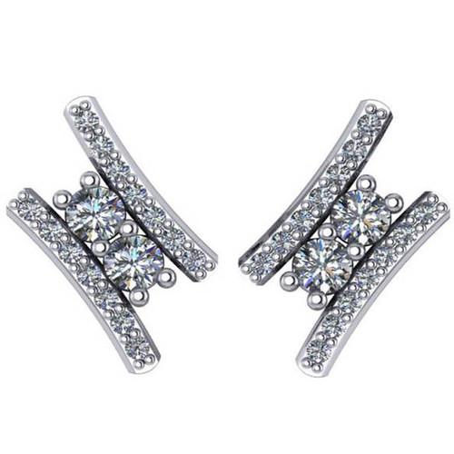 """3/8Ct Forever Us 2 Stone Diamond Studs Women's Earrings 14K White Gold 1/2"""" tall (G/H, I1)"""