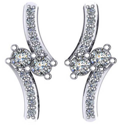 """5/8Ct Forever Us 2 Stone Diamond Studs Women's Earrings 14K White Gold 3/4"""" tall (G/H, I1)"""