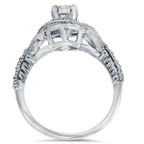 1/2CT Vintage Infinity Halo Diamond Engagement Ring 14K White Gold Deco Accents (H/I, I1-I2)