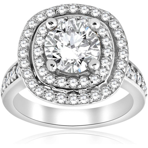 2 1/2 ct Round Diamond Double Cushion Halo Engagement Ring 10K White Gold ((G-H), SI(1)-SI(2))