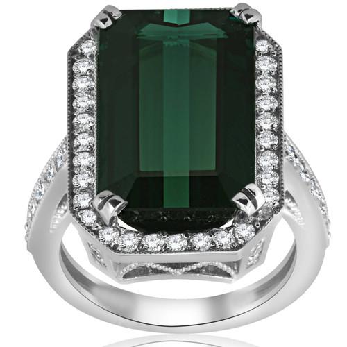 11 1/4ct Vintage Tourmaline Pave VVS Diamond Engagement Ring 18K White Gold Size 6 (E, VVS)