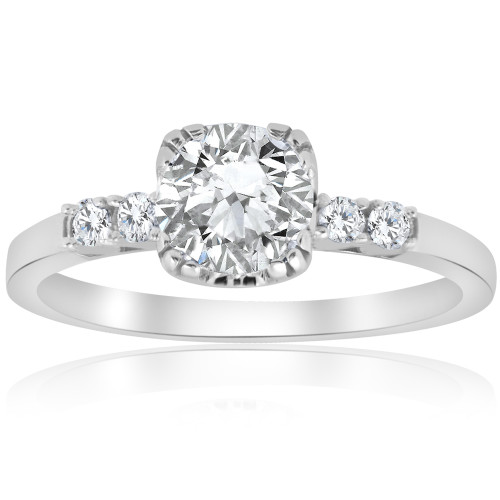 1.15 ct Solitaire Diamond Vintage Engagement Ring 14K White Gold ((G-H), SI(1)-SI(2))