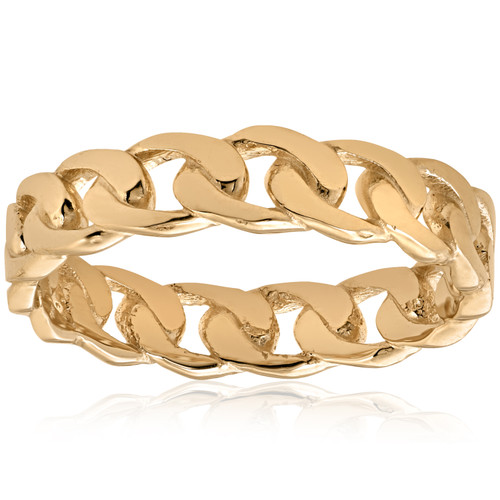 Mens 14k Yellow Gold Hand Braided Curb Linked Wedding Band