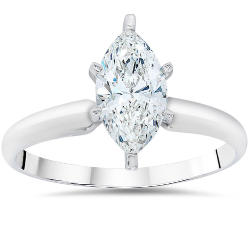 c7eb77511ee5b 1ct Solitaire Marquise Enhanced Diamond Engagement Ring 14K White Gold (F