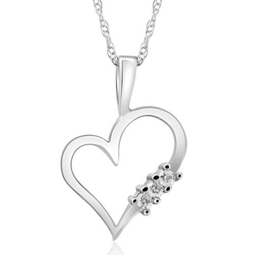 "Diamond Heart Pendant 3-Stone 10K Gold with 18"" Chain"