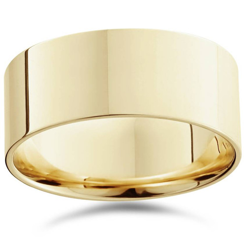 9mm Flat High Polished Wedding Band 14K Yellow Gold