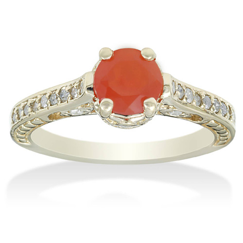1 1/10ct Fire Opal & Diamond Vintage Ring 14K Yellow Gold (H/I, I2-I3)