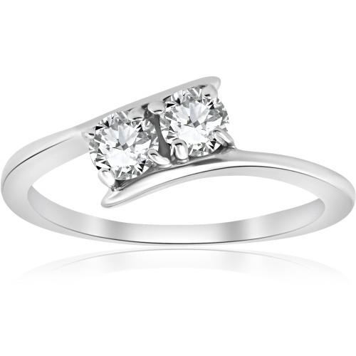 1/2 ct Two Stone Diamond Forever Us Engagement Ring 10k White Gold (H/I, I1-I2)