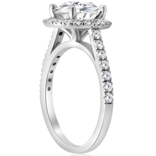 2 1/2 ct Halo Round Cut Diamond Engagement Ring 14k White Gold ((G-H), SI(1)-SI(2))