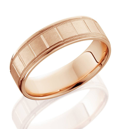 6mm Flat Brushed Hand Carved Mens 14K Rose Gold Flat Wedding Band