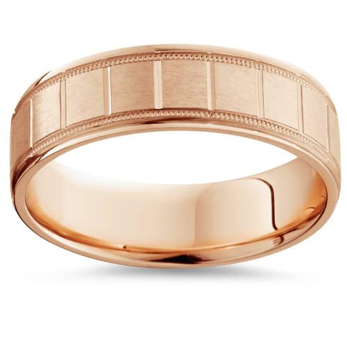 6mm Flat Brushed Hand Carved Mens 14K Rose Gold Flat Wedding Band