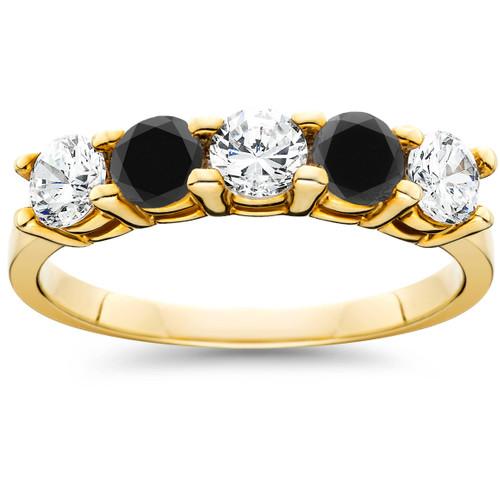 1 1/4CT Black & White Diamond 5 Stone Wedding Ring 10K Yellow Gold (H/I, I1-I2)